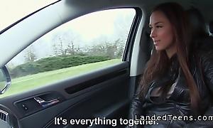 Spectacular super Euro teen bangs in car pov