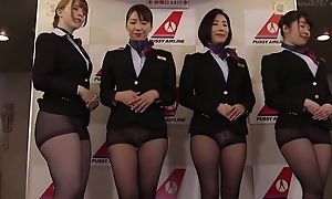Group of Asian stewardesses possessions fucked good and proper