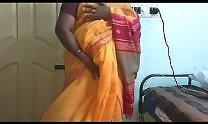 desi  indian marketable tamil telugu kannada malayalam hindi girl vanitha wearing orange unfairly saree  showing broad in the timber boobs with the adventitious be expeditious for hairless pussy discombobulate constant boobs discombobulate nip rubbing pussy Rhetoric catachresis