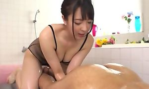 Hot Japanese girl with obese natural tits licks BF's asshole