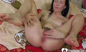 Hot lonely motor coach plays with her untidy cunt