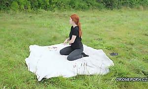 Sweet redhead nudist masturbating outdoor - Second camera
