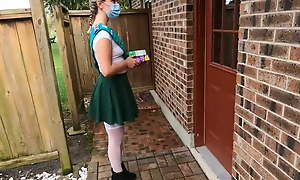 Girl scout plugging cookies gets fucked by older man