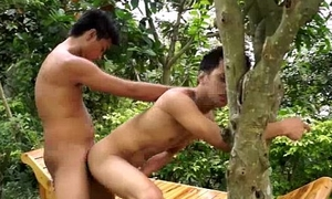 Twink asian outdoor bareback butt sex