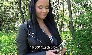Public Agent Sticky facial for domineer hot Czech teen under railway bridge