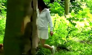 A slutty brunette teen blows older cadger porn glaze dick and gets banged in nature