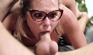 Nerdy skirt gets roughly fucked all over the library