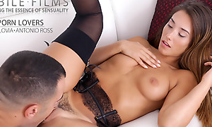 Freckled stunner Eva Lovia dresses in lacy lingerie to seduce the brush man into a wild fuckfest in the brush landing strip pussy