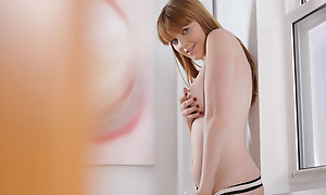 Plump redhead Marie McCray slips off her panties to bring her moistening pussy to hip thrusting creep round her fingers