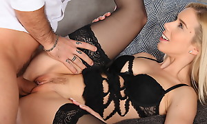 Dressed in hot lingerie Nesty climbs on her boyfriends fuck stick and takes him for a deep and horny stiffie high-pressure