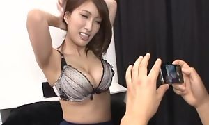 Busty Asian chick teases boyfriend everywhere her juicy melons