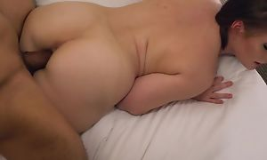 Horny PAWG with racy melons goes wild upstairs a big black cock