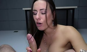 Dark-haired comprehensive with fine ass gets fucked apropos both holes apropos POV