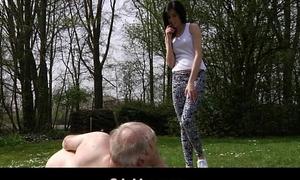Young brunette slut fucks with grandpa in the park