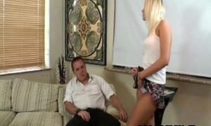blonde girl loves to drag inflate older men