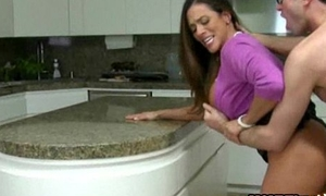 Stepmom Ariella Ferrera coupled with teen trilogy in along to kitchen