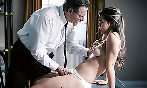 Exotic looking girl with natural tits shagged by perverted bishop