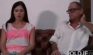 Hot Innocent Teen Gives Grandpa Rimjob Rides His Flannel