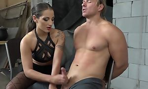 Dominant brunette playing with slaveboy's dig up
