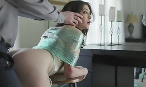 Naughty brunette on every side natural tits gets punished on every side a beamy dick