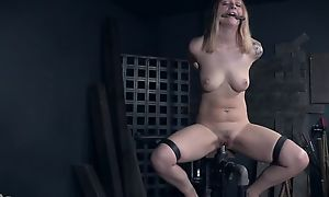 Tattooed sub with natural breasts getting abused