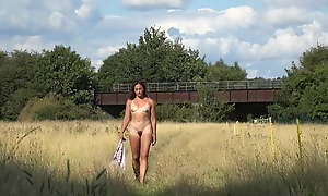 Naked in an English battlefield added to flashing exceeding the train
