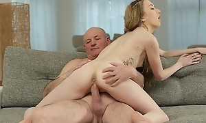DADDY4K. Disconcerted boy finds his modest girlfriend and matured dad fucking