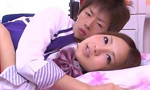 Yukina Momota hot teen in school uniform gets poked