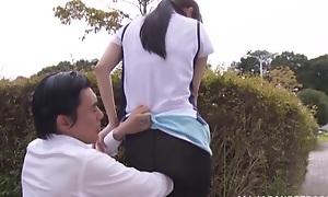 Surprising Japanese AV Model is a horny teen getting outdoor sex