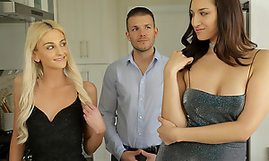 Grifter cuties Tallie Lorain and Bella Roland round up their stress home and decompose his bones for a hot blooded threesome