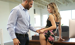 Secretary Jillian Janson is shagging her boss by lifting her miniskirt and letting him feast on and screw her greedy pussy
