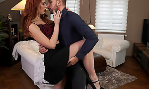 Lovely and lusty Charlie In flames dances with her tryst before heading to the bedroom to enjoy a bald pussy stiffie ambitiousness