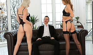 Undergarments doting babes Azazai added to Tiffany Tatum work together to seduce their beau into a pussy pleasing threesome