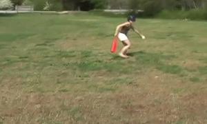 Innocent teen Kitty playing softball outdoors