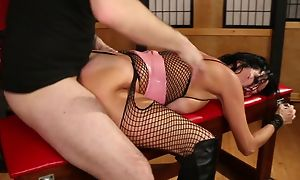 Black-haired MILF with chubby boobs gets brutally fucked
