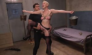 Bald-headed bombshell more dastardly stockings shagged more BDSM action