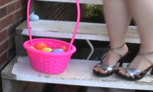 Cute teen Kitty hunting for Easter Eggs