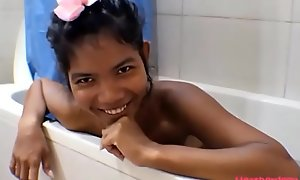 HD Thai Teen Heather Deep gives deepthroat and obtain asshole anal broken in shower with anal creampie extremist