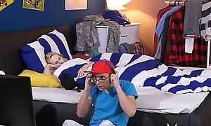 MOM Big unaffected tits Milf seduces young sons virgin teen gamer girlfriend
