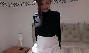 Attracting British Oriental legal age teenager Harriet Sugarcookie masturbates