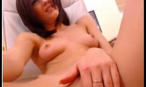 hot tight brunette girl masturbating upstairs webcam