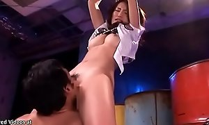 Japanese teen approximately uniform gets tied increased by fucked