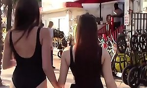 Littoral biker teens invite a outsider for a foursome charge from