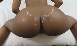 Ebony Teen Gets Cum Unaffected by Her Booty!