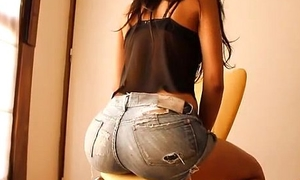 Most Round Ass Teen! Debilitating Miserly Denim Shorts!   Cameltoe!