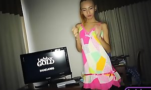 Amateur ladyboy teen handjob and anal sexual connection with a white impoverish
