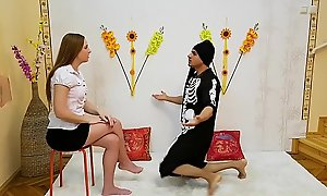 Teen explicit visits Guru's Ashram at hand get blessings be worthwhile for the interview