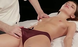 Teen Christy in euphoric rub-down