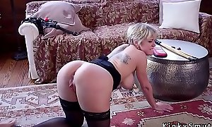 Teen gets anal coitus from dom mom