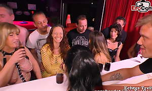 German amateur swinger troop with young couple and groupsex